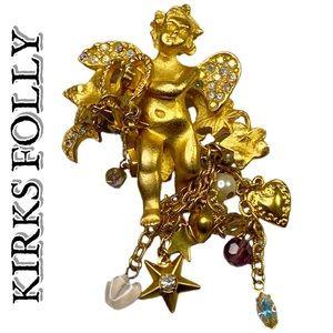 Kirks Folly Rhinestone Cherub Brooch Pin